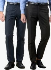 Get 50% off on American-Elm Pack Of 2 Multicoloured Solid Slim Fit Formal Trousers