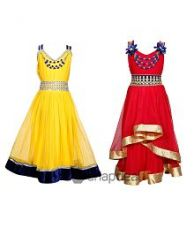 Flat 81% off on Tiny Toon Multi color Pack of 2 beautiful Dresses For Kids