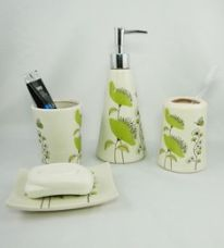Get 25% off on Go Hooked Multicolor Ceramic 4-piece Bathroom Accessories Set (Model: G536-C)