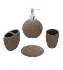 Buy Home Belle Grey Ceramic Bathroom Accessories - Set of 4 from PepperFry