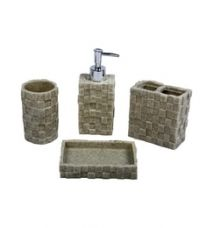 Home Belle Cream Marbel Bathroom Accessories - Set of 4 for Rs. 789