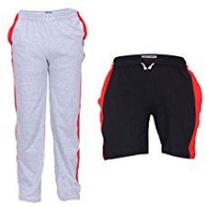 Buy TeesTadka Men's Cotton TrackPants for Men and Shorts for Men Combo Offers Pack Of 2 from Amazon