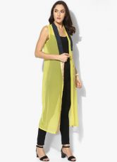 Flat 53% off on W Yellow Printed Crepe Summer Jacket