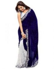 Pr Fashion Heavy Designer Velvet Rasal Net Gota Blue Embroidered Saree With Unstitched Blouse for Rs. 530