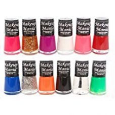 Buy Makeup Mania Trendy Colors Nail Polish Enamel - Black, White, Blue, Green, Red, Magenta & Many More in Combo of 12 Pcs (Multicolor Set # 73) from Amazon