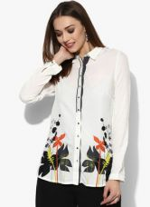 Flat 40% off on W Off White Printed Viscose Shirt