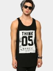 Abof Men Black Printed Regular Fit Longline Vest for Rs. 595