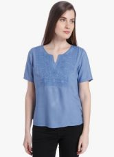 Buy Vero Moda Blue Embroidered Blouse from Jabong