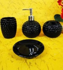 Buy Go Hooked Black Ceramic 4-piece Bathroom Set with Tempered Look for Rs. 689