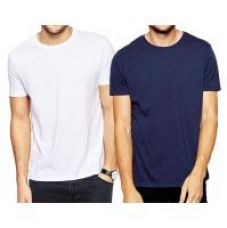 Flat 75% off on Pack of 2 DryFit polyester T-shirt Round Neck - White and Blue