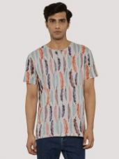 Flat 30% off on KOOVS Allover Feather Print T-Shirt