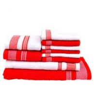 Flat 62% off on Vintana White And Red Cotton Bath Towel - Set Of 10