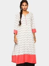 Abof Ethnic Grey & Coral Pink Liva Printed Regular Fit Kurta for Rs. 1,195