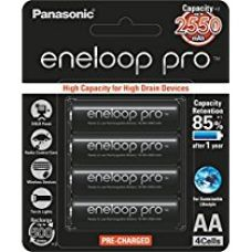 Panasonic Battery Eneloop Pro upto 2550mAh 4xAA Rechargeable Ni-MH Battery BK-3HCCE/4BN for Rs. 875