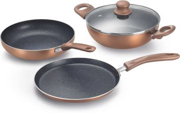 Get 58% off on Prestige Omega Festival Pack - Build Your Kitchen Cookware Set  (Aluminium, 3 - Piece)