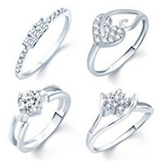 Sukkhi Incredible Rhodium Plated Set Of 4 CZ Ring Combo For Women for Rs. 399