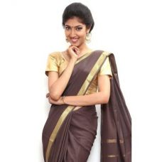 Buy Wonderful Pure Mysore silk saree-Brown-SSSB130-VQ-Crepe from ShopClues