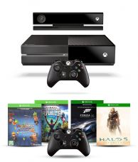 Buy Microsoft Xbox One Console with Kinect with 1 Extra Wireless Controller and 4 Games Downloadable Code (DLC)  (Halo 5, Forza Motorsport 6 , Fruit Ninja 2  & Kinect Rivals) from SnapDeal