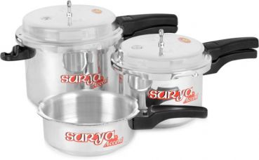 Buy SuryaAccent Super Saver combo pack 5 L, 3 L, 2 L Pressure Cooker  (Aluminium) for Rs. 1,249