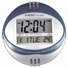 Buy Kadio Digital Wall Clock  (Shiny Silver, With Glass) for Rs. 598