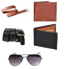 Combo of 5 products 2 Belts 2 Wallets and Sunglass at best price for Rs. 599