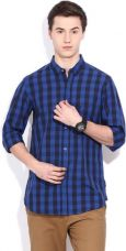 Buy French Connection Men's Checkered Casual Dark Blue Shirt from Flipkart