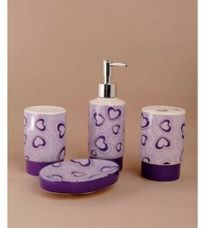 Flat 34% off on Go Hooked Ceramic Bathroom Set - Set of 4