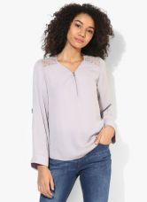 Flat 55% off on Dorothy Perkins Grey Lace Zip Front Top