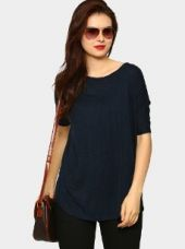 Femella Women Navy Relaxed Fit Top for Rs. 890