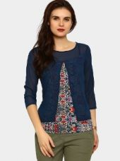 Izabel London by Pantaloons Women Blue & White Printed Regular Fit Top for Rs. 999