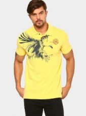 Status Quo Men Yellow Regular Fit Polo T-shirt for Rs. 999