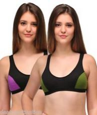 Get 50% off on Urbaano Elina Sports Bra - Green & Purple - Set Of Two