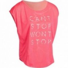 Flat 40% off on Energy Women's Loose Fitness T-Shirt - White with Pink Can't Stop Print