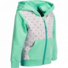 Buy Baby Printed Hooded Zip-Up Fitness Jacket - Grey/Green from Decathlon