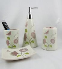 Buy Go Hooked Green & Pink Ceramic 4-piece Bathroom Accessories Set (Model: G536-B) from PepperFry