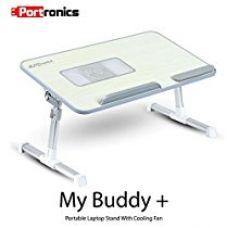 Portronics POR-704 Adjustable laptop cooling table, portable laptop desk, portable laptop table, Portable Multipurpose Laptop Table, Foldable laptop cooling table for Rs. 1,678