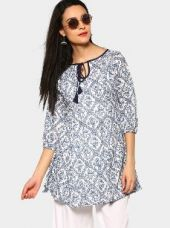 Ayaany Women White & Blue Printed Regular Fit Tunic for Rs. 1,099