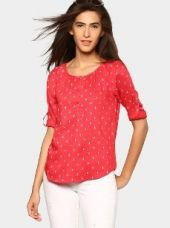 Bare Denim by Pantaloons Women Red Printed Regular Fit Top for Rs. 699