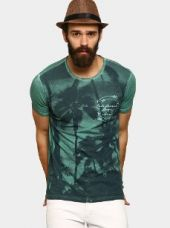 Buy abof Men Green Graphic Print Slim Fit T-shirt from Abof
