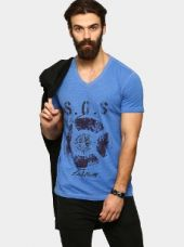 Buy abof Men Blue CPD Printed Slim Fit T-shirt from Abof