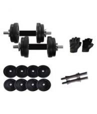 Buy Wolphy 18 Kg Black Dumbbells with gym gloves for Rs. 1,739