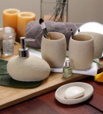 Buy SS Silverware Cream Ceramic Bathroom Accessories - Set of 4 from PepperFry