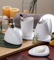 Buy SS Silverware White Ceramic Bathroom Accessories - Set of 4 for Rs. 1,499