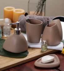 Buy SS Silverware Brown Ceramic Bathroom Accessories - Set of 4 from PepperFry
