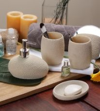 Buy SS Silverware Cream Ceramic Bathroom Accessories - Set of 4 for Rs. 1,779