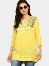 Akkriti by Pantaloons Women Yellow Liva Embroidered Regular Fit Tunic for Rs. 1,199