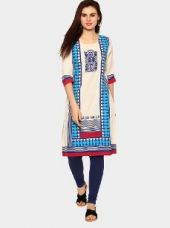 Rangmanch by Pantaloons Women Off-white & Blue Linen Blend Printed Regular Fit Kurta for Rs. 799