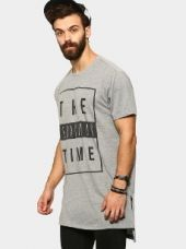 Abof Men Grey Melange Printed Regular Fit Longline T-shirt for Rs. 595