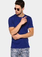 Urban Eagle by Pantaloons Men Blue Slim Fit Henley T-shirt for Rs. 499