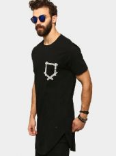 Abof Men Black Regular Fit Longline T-shirt for Rs. 595